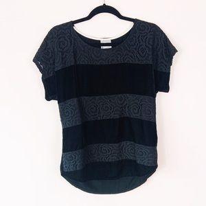 ANTHRO DOLAN Velvet Lace Stripe Black Tee MD